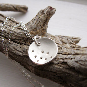 Organic concave silver necklace with punched holes, moon and craters, fine silver minimalist necklace
