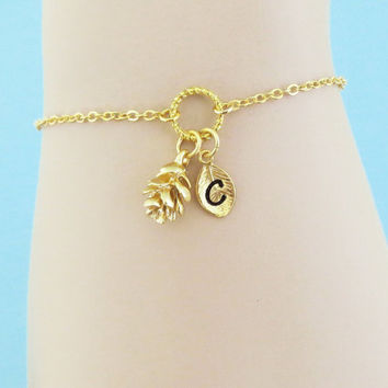 Personalized, Letter, Initial, Pine cone, Gold, Silver, Bracelet, Anklet, Lovely, Pine, Cone, Jewelry, Birthday, Lovers, Friendship, Gift
