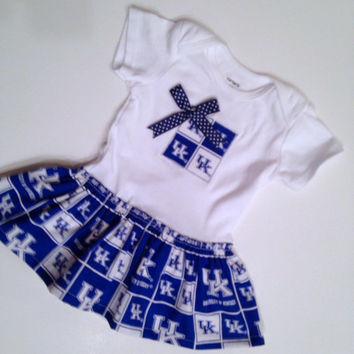 Skirted University of Kentucky Onesuit, UK Baby Dress, Wildcat Baby, Kentucky Wildcats Onesuit