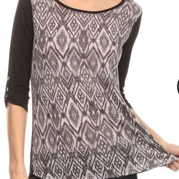 Women's Tunic Top 3/4 Sleeves Diamond Print Black/Gray: S/M/L