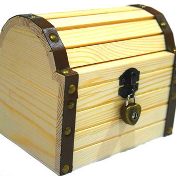 Lil' Genius Academy Wooden Treasure Chest Box With A Working Heart Shaped Lock And A Pair Of Keys, Great For Kids To Explore Their Endless Imagination
