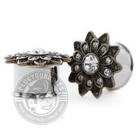 Antique Gem Flower Double Flared Steel Plugs