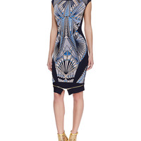 Women's Tabae Jacquard-Print Formfitting Dress - Herve Leger - Pacific blue cmb