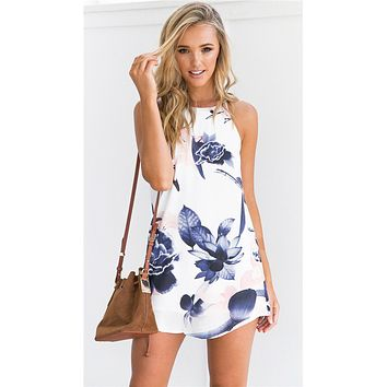 Women'S Sexy Printed Sleeveless Dresses