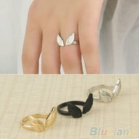 Womens Ladies Stylish Angel Wing Shape Cuff Opening Ring