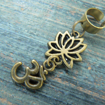 yoga ear cuff  lotus flower ohm om meditation Indie Zen New age Namaste  in gypsy hippie hipster yoga belly dancer  style