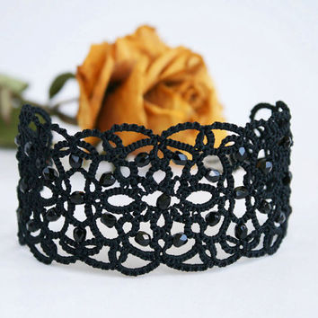 Black lace bracelet, tatted bracelet, black bracelet with beads, wide bracelet, cuff bracelet,  tatting jewelry.