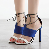 Summer Stylish Design Fine Strap High Heel Sandals = 4804956932