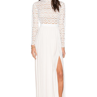 self-portrait Pleated Crochet Floral Maxi Dress in Off White
