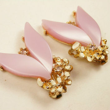 Art Deco Style Pink Thermoset Earrings Clipons Rhinestones Clips EstateVintage  Costume Jewelry