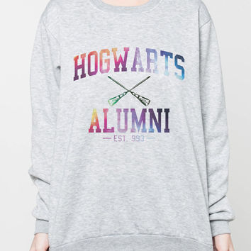 Hogwarts Alumni Galaxy Sweater Harry Potter Movie College Women Shirt T-Shirt Tshirt Grey Sweatshirts Jumpers Unisex Size S M L