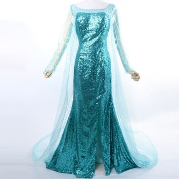 elsa costume adult princess elsa dress cosplay halloween costumes for women snow queen cosplay Party Formal Dress blue