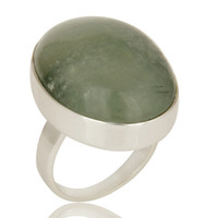 Natural Prehnite Bezel Set Oval Gemstone Statement Ring In Sterling Silver