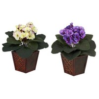 African Violets With Vase Silk Plant (Set of 2)