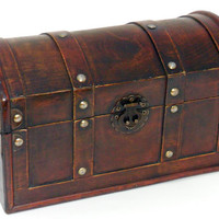 Wooden Pirate Treasure Chest Keepsake Jewelry Trinket Tarot Box