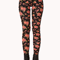 FOREVER 21 Rose Print Leggings Black/Coral