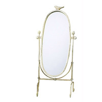 Freestanding Table Or Counter Top Vanity Mirror In Antique Ivory Finish