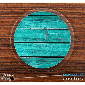 The Grunge Aqua Green Wood Planks Skinned Foam-Backed Coaster Set