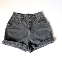 shorts, high waisted, black denim shorts,  jean shorts, 90s minimal, goth, grunge,  small / 24""