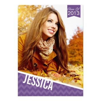 Chic Chevron Purple 2013 Graduation Announcement from Zazzle.com