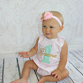 First Birthday Outfit Girl Personalized Lace Romper 1st Birthday Girl Smash Cake Outfit Baby Girl Clothes Personalized Birthday Outfit