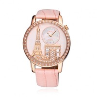 Luxury Rhinestone-studded Iron Tower Leather Ladies Watch