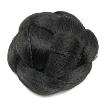 Soowee 6 Colors Clip In Fake Hair Bun Black Brown Synthetic Hair Braided Chignon Hair Donut Roller Hairpieces for Women