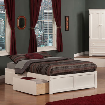 Urban Concord Full Bed Flat Panel Footboard 2 Urban Bed Drawers White Finish