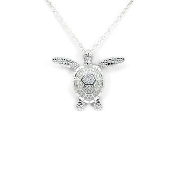 Sterling Silver CZ Textured Swimming Turtle Pendant Necklace