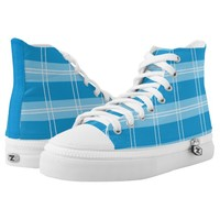 blue square pattern with white stripes High-Top sneakers