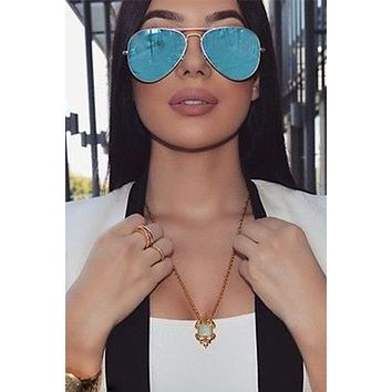 Hottie Flat Lens Mirror Aviator Sunglasses - Blue