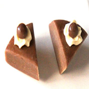 Chocolate Cake Stud Earrings