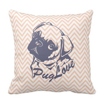 Cute Pug Dog Orange Chevron Girly Pattern Throw Pillows