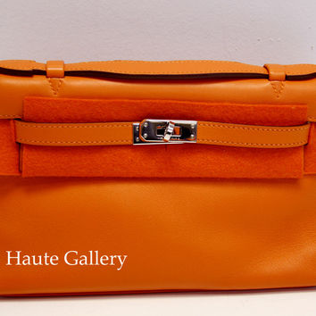 Buy Cheap Hermes Replica Kelly Pochette Orange Swift Leather Palladium Hardware
