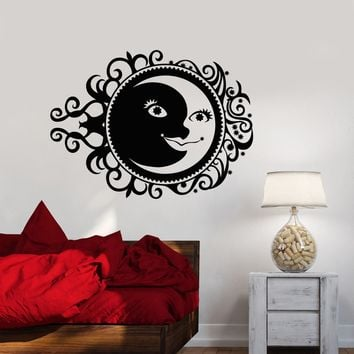 Vinyl Wall Decal Sun Moon Stars Night Ornament Bedroom Stickers (2605ig)