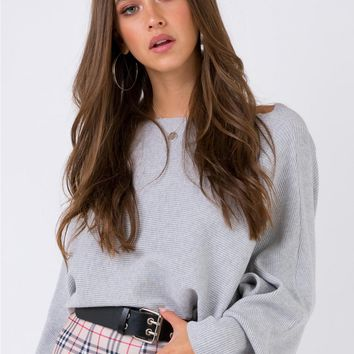 Winters Spell Ribbed Top Grey Marle