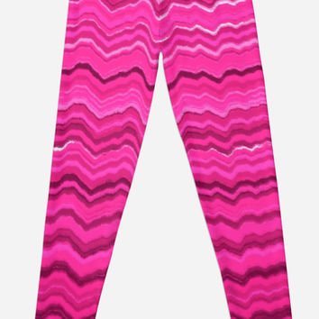 'Pink wavy lines pattern' Leggings by steveball