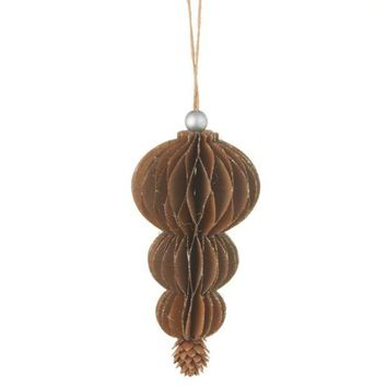 ONETOW 6.5' Silent Luxury Glittered Drop with Pine Cone Pendent Christmas Ornament