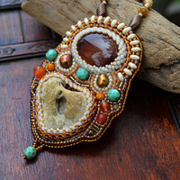 Holey stone embroidered Necklace Asymmetrical Pendant Necklace Earthy Copper Necklace Bead Embroidery Necklace Wearable art Gift for her