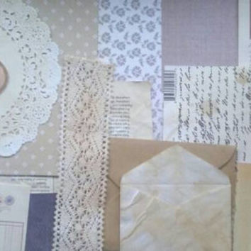 Vintage themed paper ephemera kit. Coffee dyed paper. Junk journal kit. Mini album kit. Smash book kit.