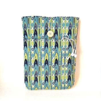 "Aqua Laptop MacBook Air Case 13 - 13.3 "", Pro Retina, Navajo Sleeve Charger Cord Pocket, Bag Cover Southwest Tribal ikat Blue Green Navy Sac"