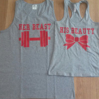 Free Shipping for US Beauty And The Beast  Matching Couples Tank Tops/Shirts:Gray with red decals Different Version