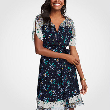 Petite Mixed Floral Flounce Dress | Ann Taylor