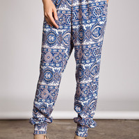 Paisley Printed Harem Pants-Blue
