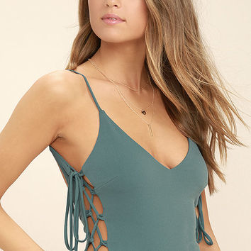 Exception to the Rule Teal Green Lace-Up Bodysuit