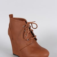 Qupid Distressed Nubuck Lace Up Wedge Bootie