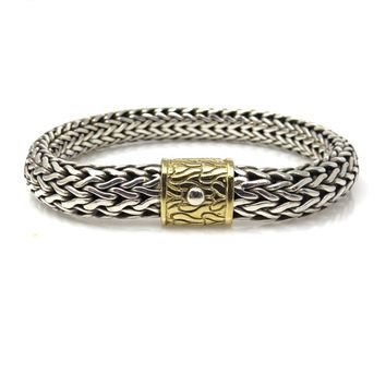 John Hardy Sterling Silver 18k Gold Byzantine Chain Bracelet, Contemporary, Post 1990