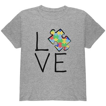Autism Awareness Love Puzzle Piece Youth T Shirt