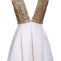 Lust Struck Dress | Gold Ivory Sequin Plunging V-neck Dresses | RicketyRack.com