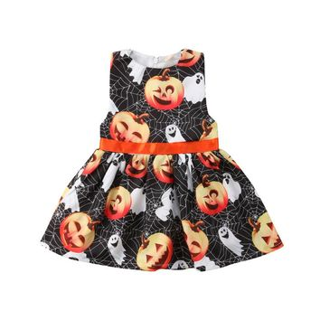 Sleeveless Newborn Kids Baby Girls Pumpkin Party Pageant Ghost Halloween Dress Clothes Print A Line Dresses